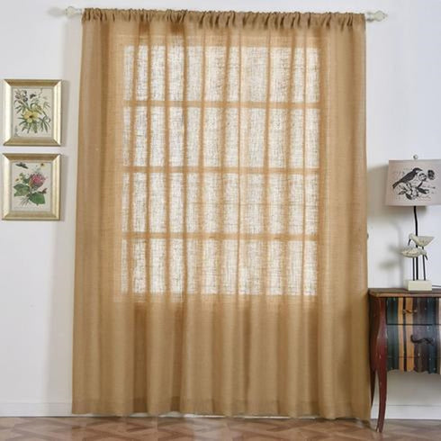 "2 Pack | 52x96"" Eco Friendly Burlap Jute Rustic Home Curtain Backdrop Panels With Rod Pocket"