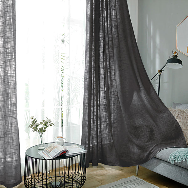 "2 Pack | Handmade Linen Curtain 52""x108"", Charcoal Gray Faux Linen Curtain Panels With Chrome Grommets"