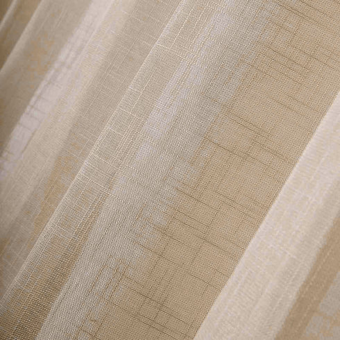 52 inch x 108 inch Beige Faux Linen Curtains, Semi Sheer Curtain Panels with Chrome Grommet