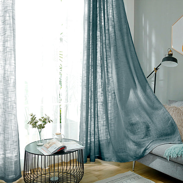 "2 Pack | Handmade Linen Curtain 52""x108"", Blue Faux Linen Curtain Panels With Chrome Grommets"