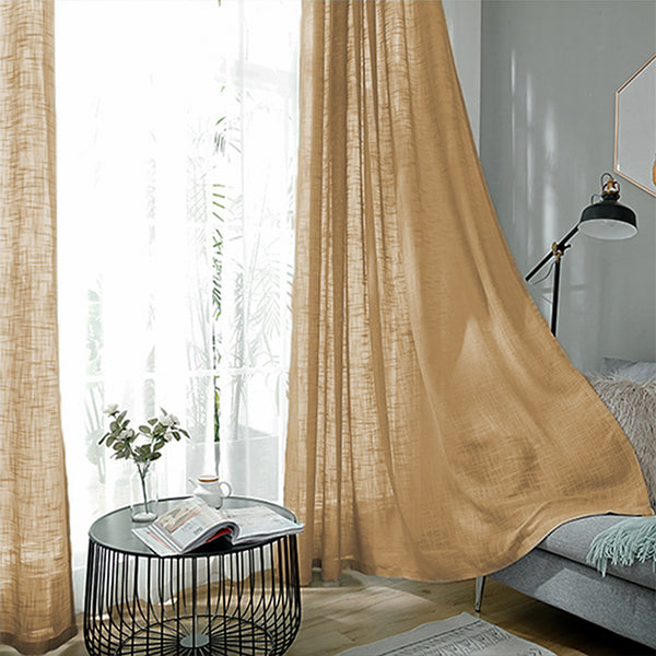 "2 Pack | Handmade Linen Curtain 52""x108"", Natural Faux Linen Curtain Panels With Chrome Grommets"
