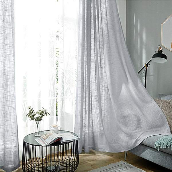 "Pack of 2 | 52""x108"" Silver Faux Linen Curtains, Semi Sheer Curtain Panels with Chrome Grommet"