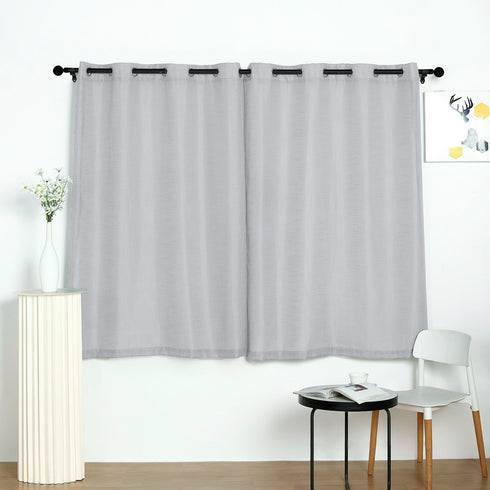 52x64inch Silver Faux Linen Curtains, Semi Sheer Curtain Panels with Chrome Grommet