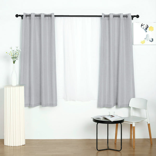 "Pack of 2 | 52""x64"" Silver Faux Linen Curtains, Semi Sheer Curtain Panels with Chrome Grommet"