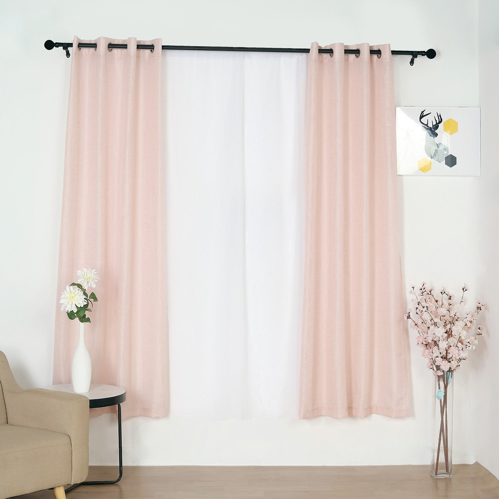 Pack Of 2 52 X84 Faux Linen Curtains Semi Sheer Curtain Panels With Chrome Grommet Rose Gold Blush Efavormart