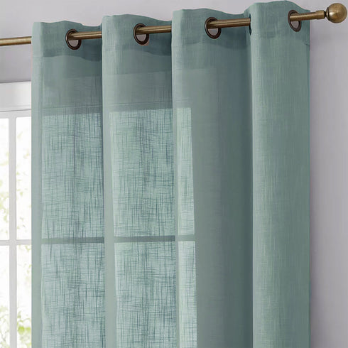 Dusty Blue Faux Linen Curtains, Semi Sheer Curtain Panels with Chrome Grommet