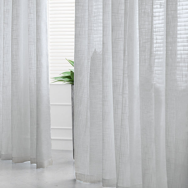 "Pack of 2 | 52""x96"" Silver Faux Linen Curtains, Semi Sheer Curtain Panels with Chrome Grommet"