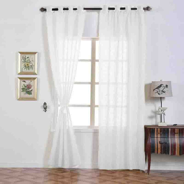 "Pack of 2 | 52""x96"" White Faux Linen Curtains, Semi Sheer Curtain Panels with Chrome Grommet"