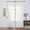 White Faux Linen Curtains, Semi Sheer Curtain Panels with Chrome Grommet