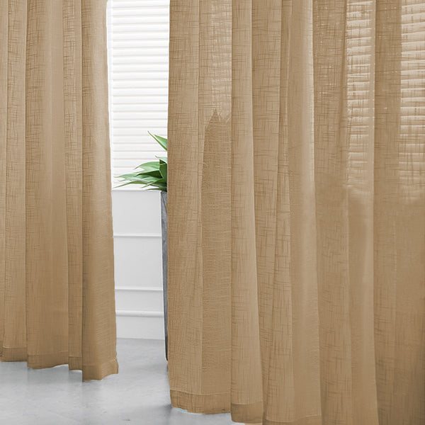 "2 Pack | Handmade Linen Curtain 52""x96"", Natural Faux Linen Curtain Panels With Chrome Grommets"