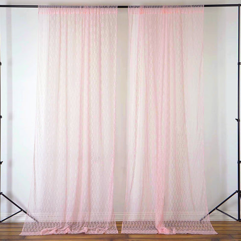 Fire Retardant Sheer Floral Lace Premium Curtain With Rod Pockets - 5FTx10FT - Set Of 2- Rose Gold | Blush