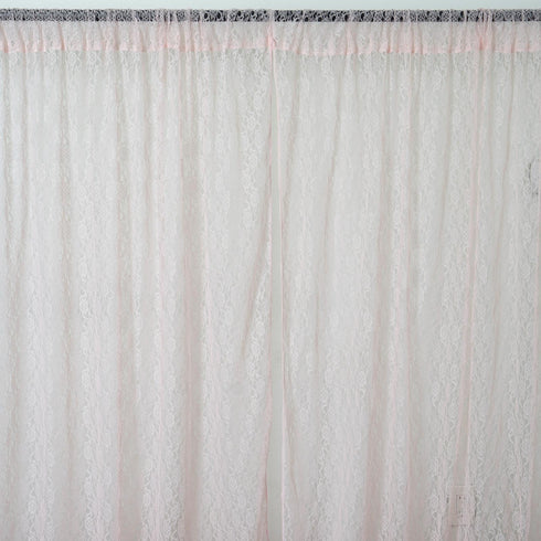 Pack of 2 | 5FTx10FT Premium Fire Retardant Fabric Floral Lace Sheer Curtain With Rod Pockets - Rose Gold | Blush