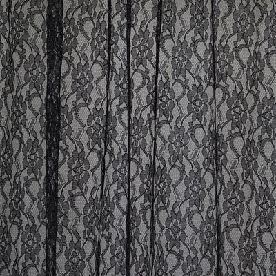 Fire Retardant Sheer Floral Lace Premium Curtain With Rod Pockets - 5FTx10FT - Black - Set Of 2