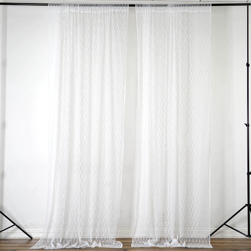 Pack of 2 | 5FTx10FT Ivory Premium Fire Retardant Fabric Floral Lace Sheer Curtain With Rod Pockets