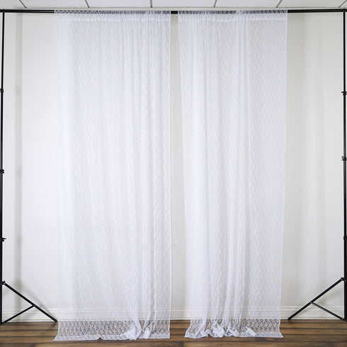 Set Of 2 White Fire Retardant Sheer Backdrops Window Treatment With Rod Pockets - 5FTx10FT