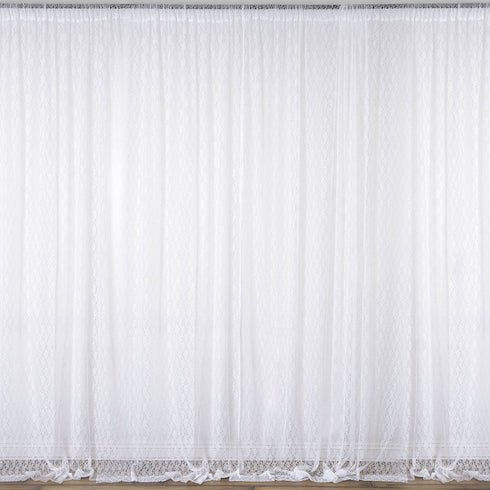Pack of 2 | 5FTx10FT White Premium Fire Retardant Fabric Floral Lace Sheer Curtain With Rod Pockets