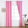 "2 Pack Pink Thermal Insulated Blackout Room Darkening Window Treatment Home Curtain Panel Drapes With Chrome Grommet Top - 52""Wx108""L"