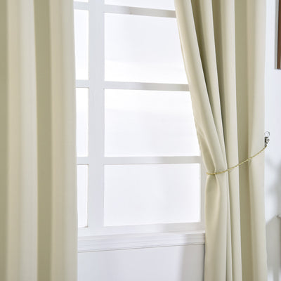 "Blackout Curtains 52x108"" Beige Pack of 2 Thermal Insulated With Chrome Grommet Window Treatment Panels"