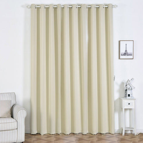 "2 Pack | 52""x108"" Beige Thermal Blackout Curtains With Chrome Grommet Window Treatment Panels"