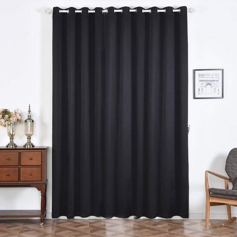"2 Pack | 52""x108"" Black Thermal Blackout Curtains With Chrome Grommet Window Treatment Panels"