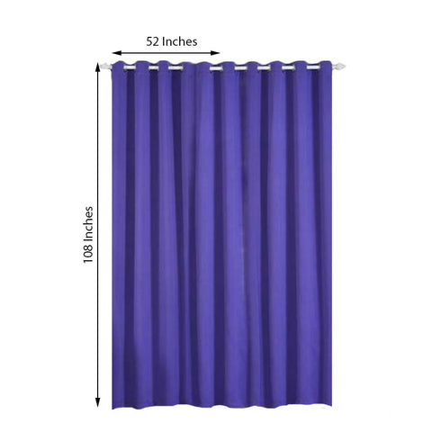"Pack of 2 | 52""x108"" Purple Thermal Blackout Curtains With Chrome Grommet Window Treatment Panels"