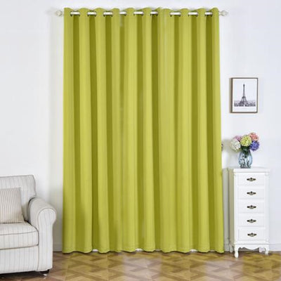 "2 Pack | 52""x108"" Sage Green Thermal Blackout Soundproof Curtains With Chrome Grommet Window Treatment Panels"