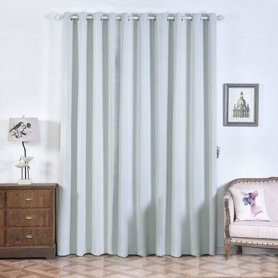 "2 Pack | 52""x108"" Silver Thermal Blackout Curtains With Chrome Grommet Window Treatment Panels"