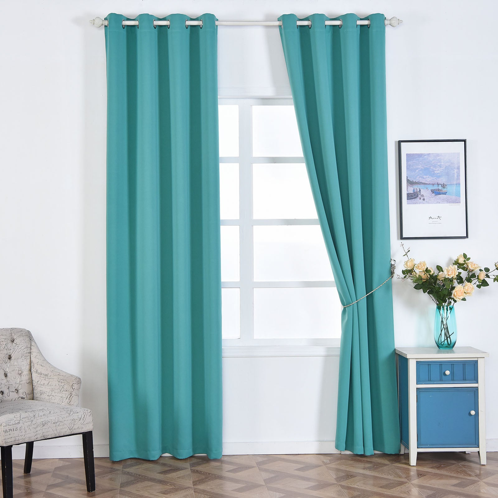 Blackout Curtains 52x108 Turquoise Pack Of 2 Thermal Insulated With Chrome Grommet Window Treatment Panels