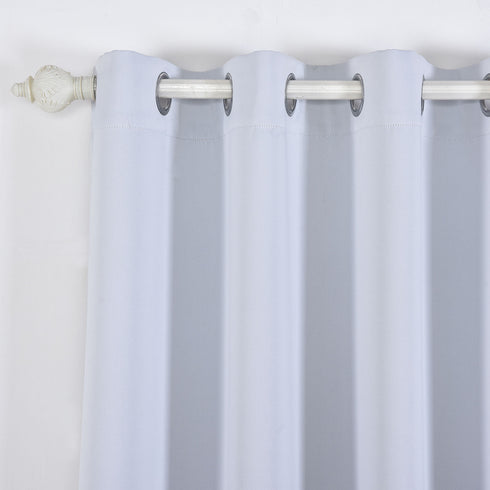 "Blackout Curtains 52x108"" White Pack of 2 Thermal Insulated With Chrome Grommet Window Treatment Panels"