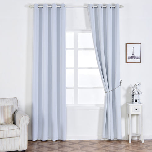 "Pack of 2 | 52""x108"" White Thermal Blackout Soundproof Curtains With Chrome Grommet Window Treatment Panels"