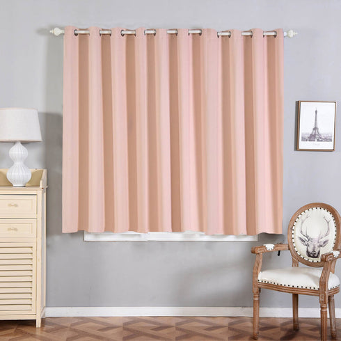 "2 Pack | 52""x64"" Thermal Blackout Curtains With Chrome Grommet Window Treatment Panels Rose Gold 