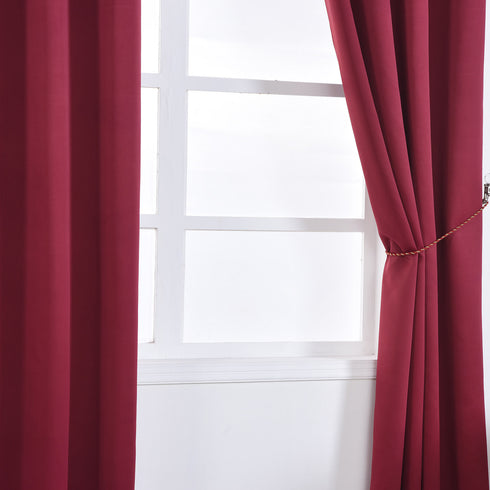 "Blackout Curtains 52x64"" Burgundy Pack of 2 Thermal Insulated With Chrome Grommet Window Treatment Panels"