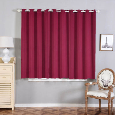 "2 Pack | 52""x64"" Burgundy Thermal Blackout Curtains With Chrome Grommet Window Treatment Panels"
