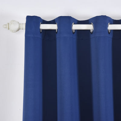 "Blackout Curtains 52x64"" Navy Blue Pack of 2 Thermal Insulated With Chrome Grommet Window Treatment Panels"