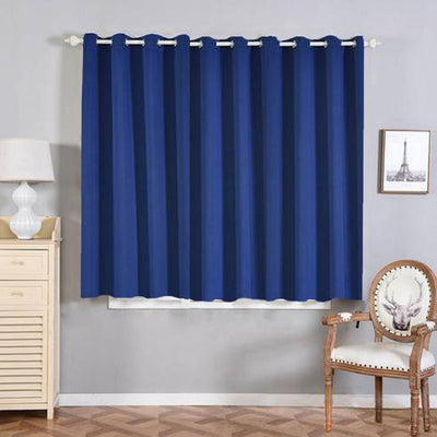 "2 Pack | 52""x64"" Navy Blue Thermal Blackout Curtains With Chrome Grommet Window Treatment Panels"