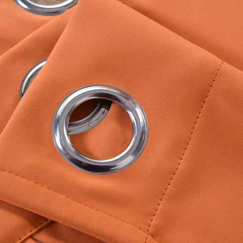 "Blackout Curtains 52x64"" Orange Pack of 2 Thermal Insulated With Chrome Grommet Window Treatment Panels"