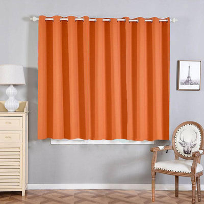"2 Pack | 52""x64"" Orange Thermal Blackout Curtains With Chrome Grommet Window Treatment Panels"