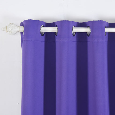 "Blackout Curtains 52x64"" Purple Pack of 2 Thermal Insulated With Chrome Grommet Window Treatment Panels"