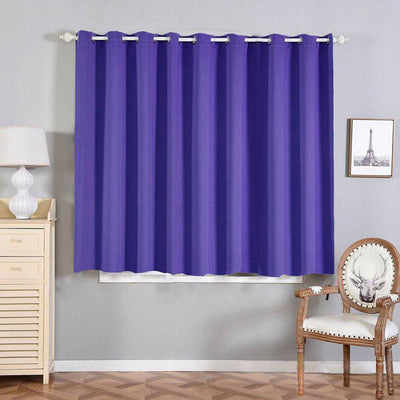 "2 Pack | 52""x64"" Purple Thermal Blackout Curtains With Chrome Grommet Window Treatment Panels"