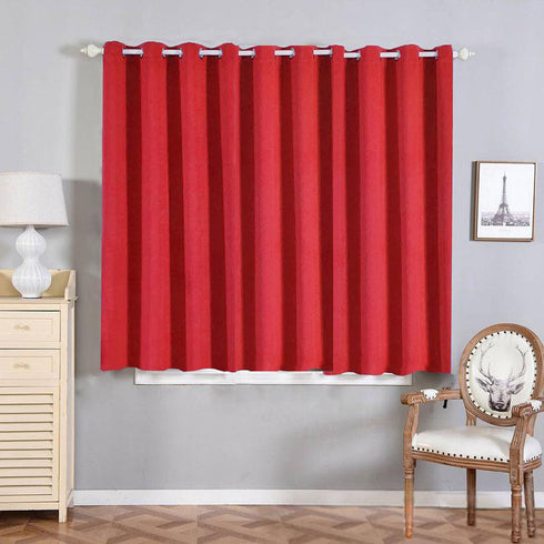 "2 Pack | 52""x64"" Red Thermal Blackout Curtains With Chrome Grommet Window Treatment Panels"