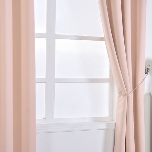 "Blackout Curtains 52x84"" Blush Pack of 2 Thermal Insulated With Chrome Grommet Window Treatment Panels"