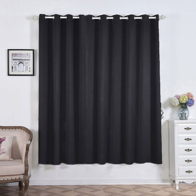 "2 Pack | 52""x84"" Black Thermal Blackout Curtains With Chrome Grommet Window Treatment Panels"