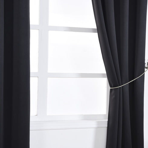 "Blackout Curtains 52x84"" Black Pack of 2 Thermal Insulated With Chrome Grommet Window Treatment Panels"