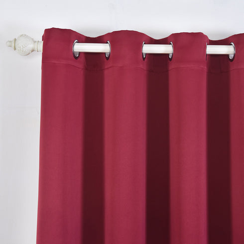 "Blackout Curtains 52x84"" Burgundy Pack of 2 Thermal Insulated With Chrome Grommet Window Treatment Panels"