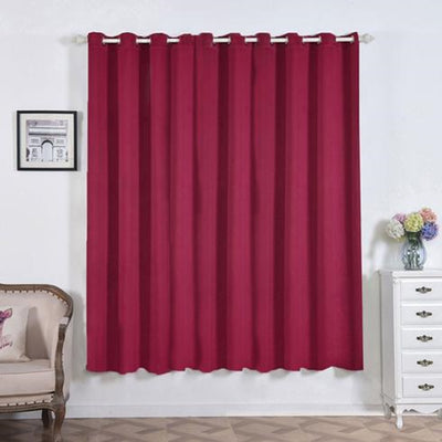 "2 Pack | 52""x84"" Burgundy Thermal Blackout Curtains With Chrome Grommet Window Treatment Panels"