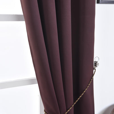 "Blackout Curtains 52x84"" Chocolate Pack of 2 Thermal Insulated With Chrome Grommet Window Treatment Panels"