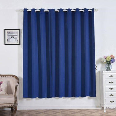 "2 Pack | 52""x84"" Navy Blue Thermal Blackout Curtains With Chrome Grommet Window Treatment Panels"