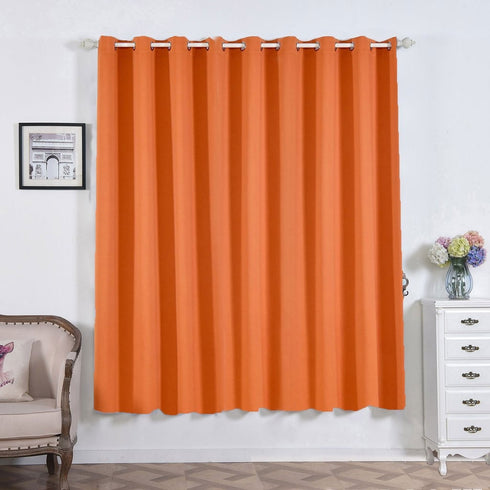 "2 Pack | 52""x84"" Orange Thermal Blackout Curtains With Chrome Grommet Window Treatment Panels"