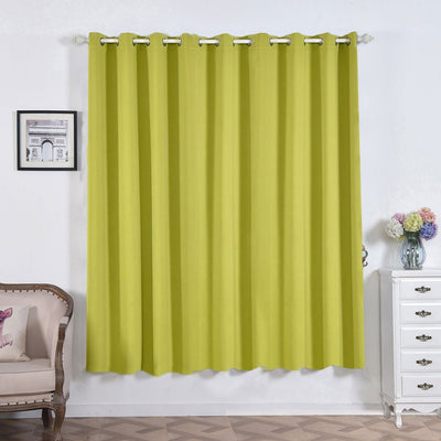 "2 Pack | 52""x84"" Sage Green Thermal Blackout Curtains With Chrome Grommet Window Treatment Panels"