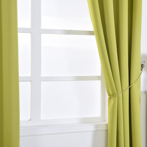 "Blackout Curtains 52x84"" Sage Green Pack of 2 Thermal Insulated With Chrome Grommet Window Treatment Panels"